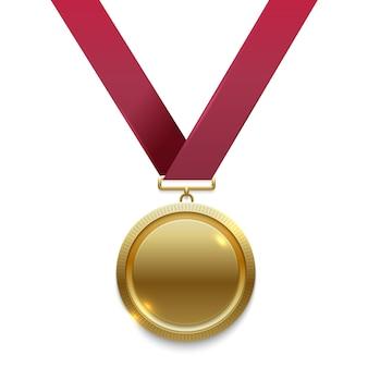 Medalha de ouro campeão na fita vermelha