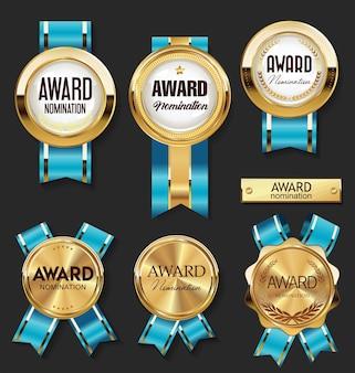 Medalha de ouro com coleção de prêmios de fitas azuis