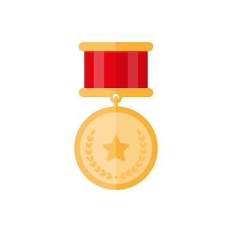 Medalha de ouro com estrela e folhas
