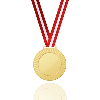 Medalha de ouro com fita vermelha. ícone.