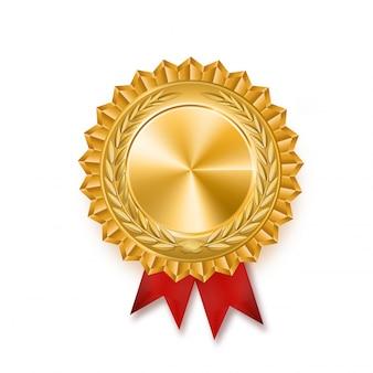 Medalha de ouro com fita vermelha. ilustração de prêmio vencedor metálico.