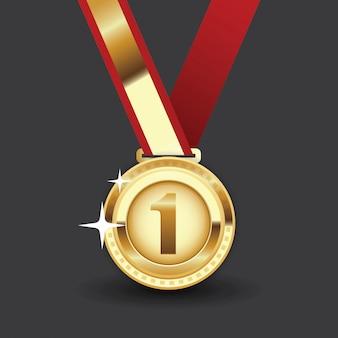 Medalha de ouro com fita vermelha. primeiro prêmio, realização de prêmio.