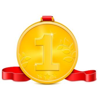 Medalha de ouro com fita vermelha