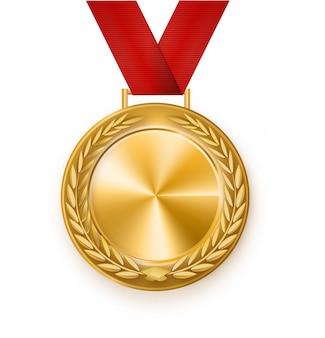 Medalha de ouro com uma fita vermelha. grinalda. prêmio pela vitória. vencedor.