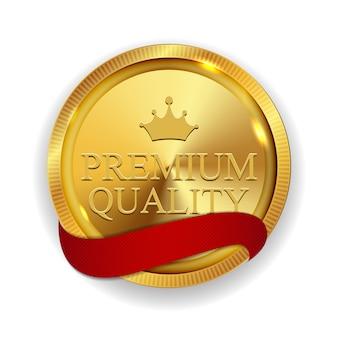 Medalha de ouro de qualidade premium isolada