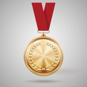 Medalha de ouro de vetor em fita vermelha com detalhes em relevo da coroa de louros e reflexos conceituais de um prêmio pela conquista da vitória na primeira colocação