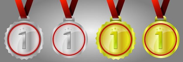 Medalha de ouro número um, medalhas de ouro campeão, prata e ouro com fitas vermelhas