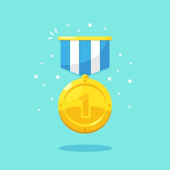 Medalha de ouro para o primeiro lugar. troféu, prêmio, prêmio para o vencedor em fundo azul. distintivo dourado com fita. realização, vitória, sucesso. ilustração