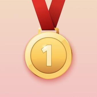 Medalha de ouro para o primeiro prêmio. ilustração.