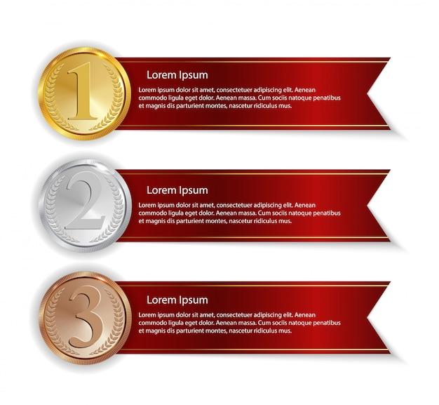 Medalha de ouro, prata e bronze campeão com sinal de ícone de fita vermelha primeiro, segundo e terceiro lugar coleção conjunto isolado