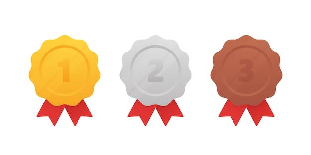 Medalha de ouro, prata e bronze com fita vermelha. 1º, 2º e 3º lugares. moderno estilo plano