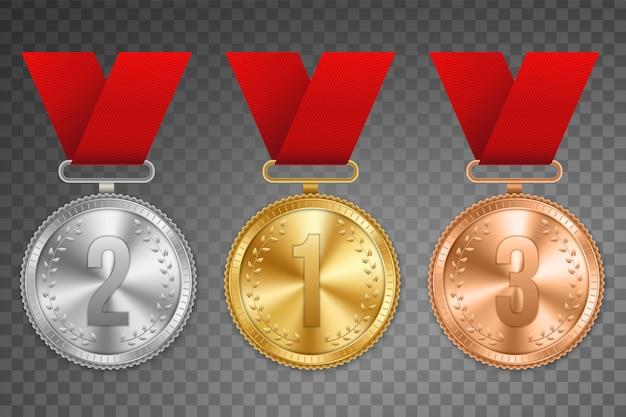 Medalha de ouro, prata e bronze com fita.
