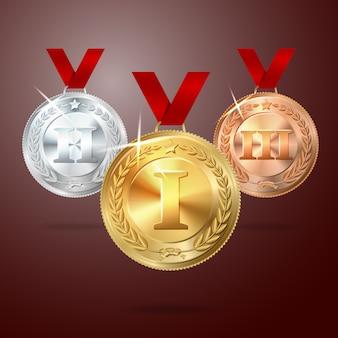 Medalha de ouro, prata e bronze de vetor com fitas vermelhas