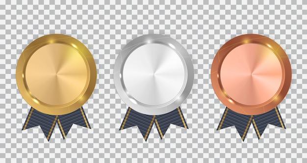 Medalha de ouro, prata e bronze do campeão com fita azul.