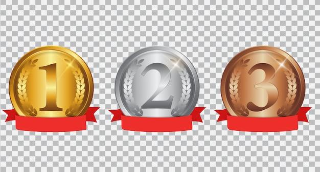 Medalha de ouro, prata e bronze do campeão com fita vermelha