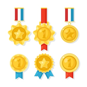 Medalha de ouro, prata e bronze para o primeiro lugar. troféu, prêmio para o vencedor em fundo branco. conjunto de distintivo dourado com fita. realização, vitória. ilustração