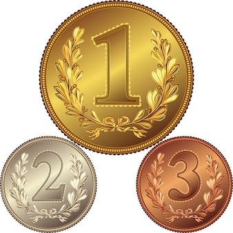 Medalha de ouro, prata e bronze pela vitória no concurso com a imagem de uma coroa de louros e o primeiro, segundo, terceiro lugar