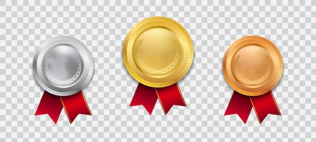 Medalha de ouro realista campeão 3d com ilustração de fita vermelha