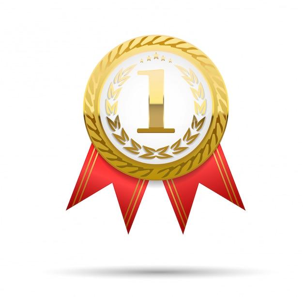 Medalha de ouro realista na fita vermelha. vencedora . ilustração. ilustração de primeiro lugar