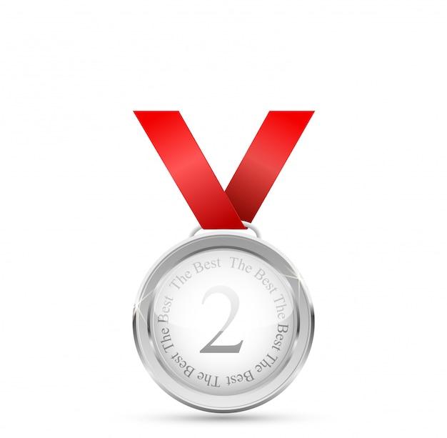 Medalha de ouro realista na fita vermelha. vencedora . ilustração.