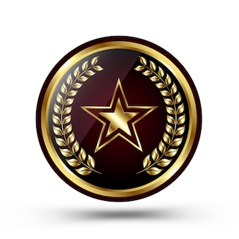 Medalha de ouro vencedor isolada no branco