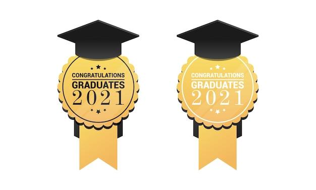 Medalha de pós-graduação redondo sinal dourado com tampa acadêmica e texto de parabéns.