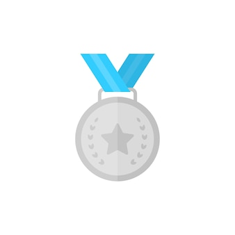 Medalha de prata com estrela e fita