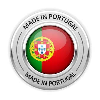Medalha de prata fabricado em portugal com bandeira