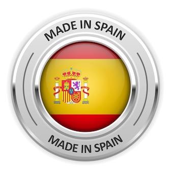 Medalha de prata feita na espanha com bandeira