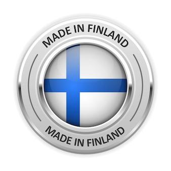 Medalha de prata feita na finlândia com bandeira