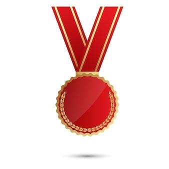 Medalha de prêmio com fita vermelha