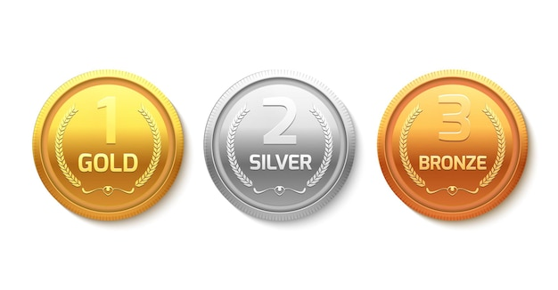 Medalha de prêmio de ouro, prata e bronze
