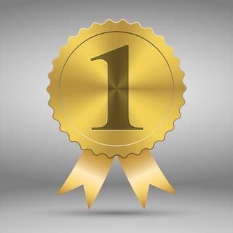 Medalha de prêmio de vetor de ouro Vetor Premium