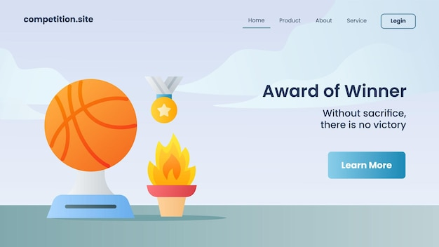 Medalha de troféu e fogo eterno como prêmio de vencedor com slogan sem sacrifício não há vitória para ilustração vetorial de página inicial de modelo de site de destino