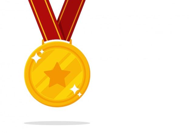 Medalha do vencedor. vitória da medalha de ouro em eventos esportivos.