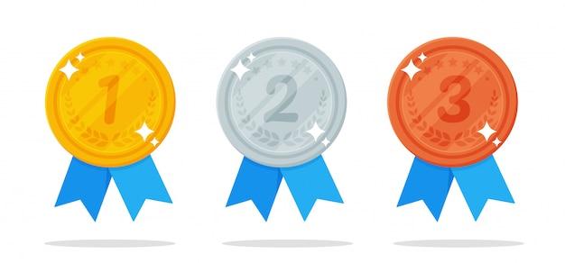 Medalha. medalhas de ouro, prata e bronze são o prêmio do vencedor de um evento esportivo.