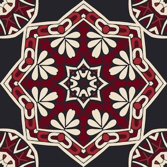 Medalhão arabesco padrão de motivo em azulejos sem emenda do damasco. projeto de superfície geométrica ornamental preto e vermelho.