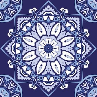 Medalhão de arabescos abstratos sem costura ornamentais em azul