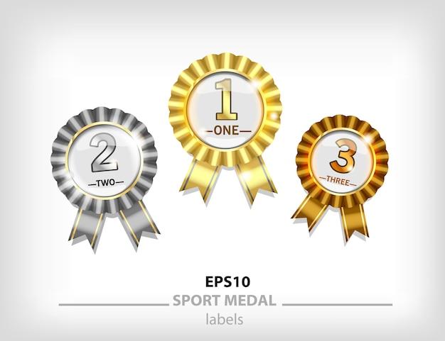 Medalhão de ouro, prata e bronze, medalha de premiação em primeiro e segundo lugar. selo dourado com fita