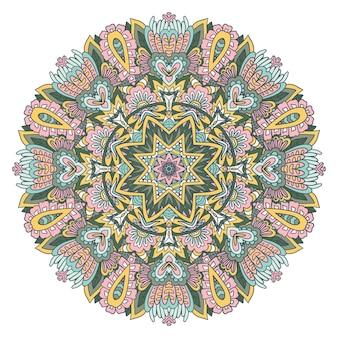 Medalhão étnico tribal colorido festivo vetor intrincado arte de mandala ornamental de filigrana
