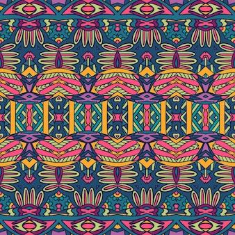 Medalhão geométrico doodle ornamental padrão colorido sem emenda. impressão psicodélica intrincada de vetor