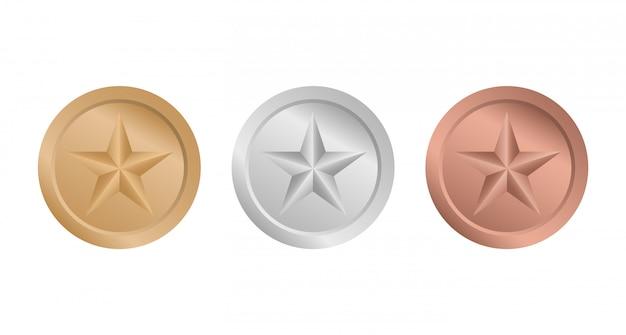 Medalhas com estrelas. medalha de ouro, prata e bronze.