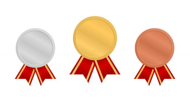 Medalhas com fitas vermelhas. medalha de ouro, prata e bronze.