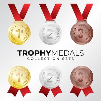Medalhas de bronze prata ouro, conjunto de coleta de troféu