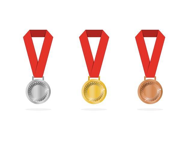Medalhas de esportes com sombra no fundo branco
