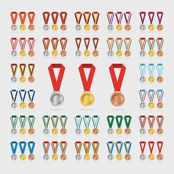 Medalhas de esportes universais com sombra no fundo branco