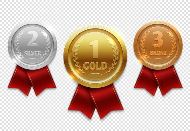 Medalhas de medalhas de ouro, prata e bronze com fitas vermelhas
