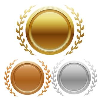 Medalhas de medalhas de ouro, prata e bronze de campeão