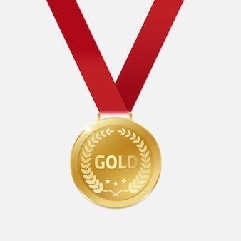 Medalhas de ouro campeão com fita.