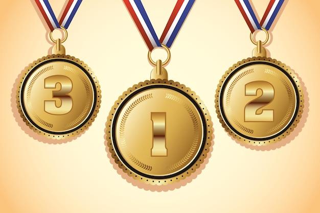 Medalhas de ouro com ícones de três lugares